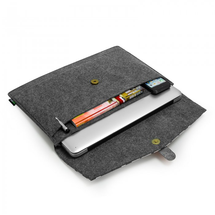 Felt & Real Leather Laptop sleeve