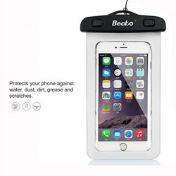 "5.5"" White Waterproof Cell Phone Pouch"
