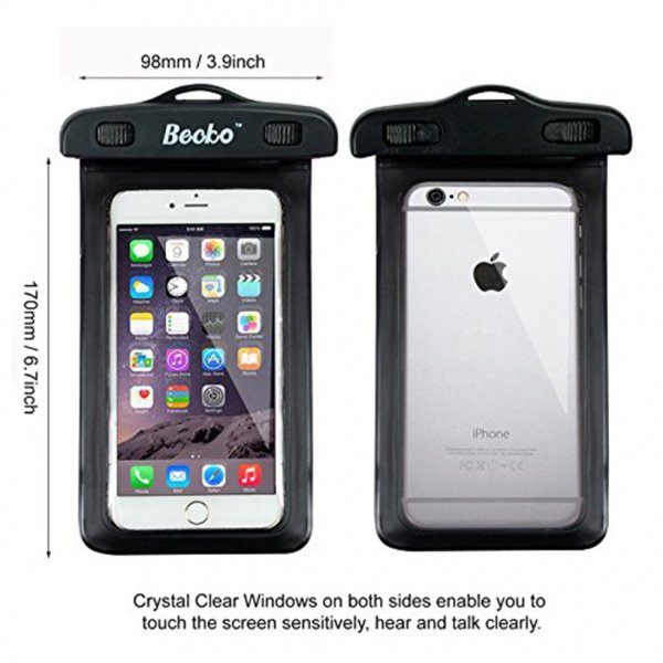 "5.5"" Black Waterproof Cell Phone Pouch"